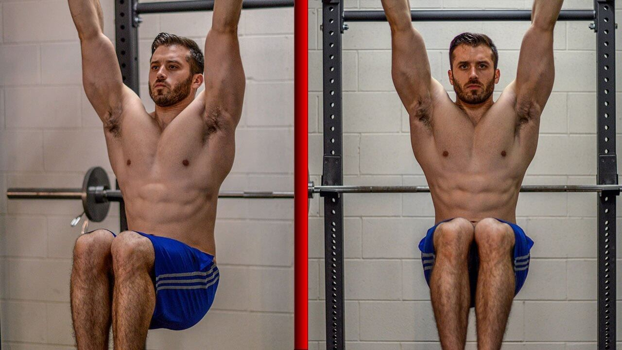 hanging knee raise pull ups to work abs