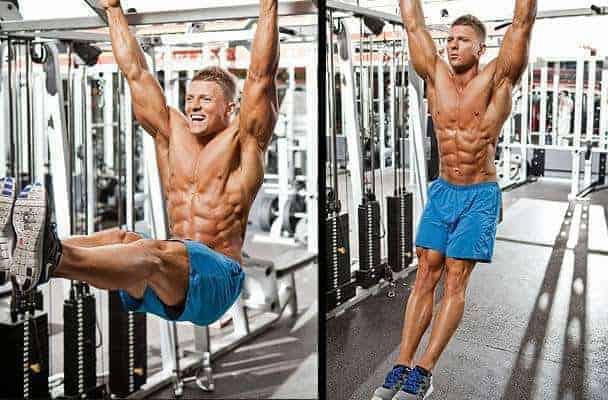 hanging leg raise pull ups to work abs