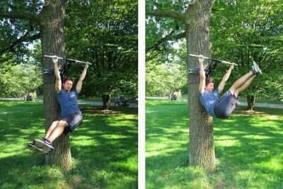 l hang pull ups with siders to work abs
