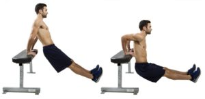 tricep dips to work arms after chest day