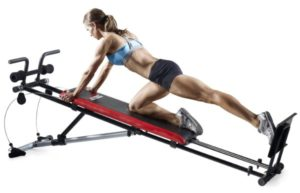 reverse squats and lunges exercise on weider ultimate body works home gym