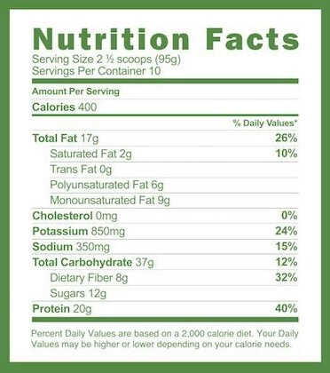 Ambronite Complete Meal Shake nutrition label