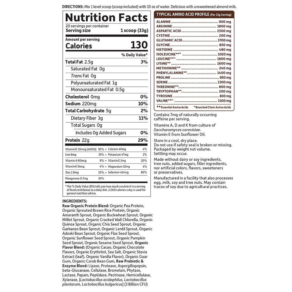 Garden of Life Sport Organic Plant-Based Protein nutrition label