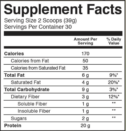 KOS Organic Plant Protein nutrition label