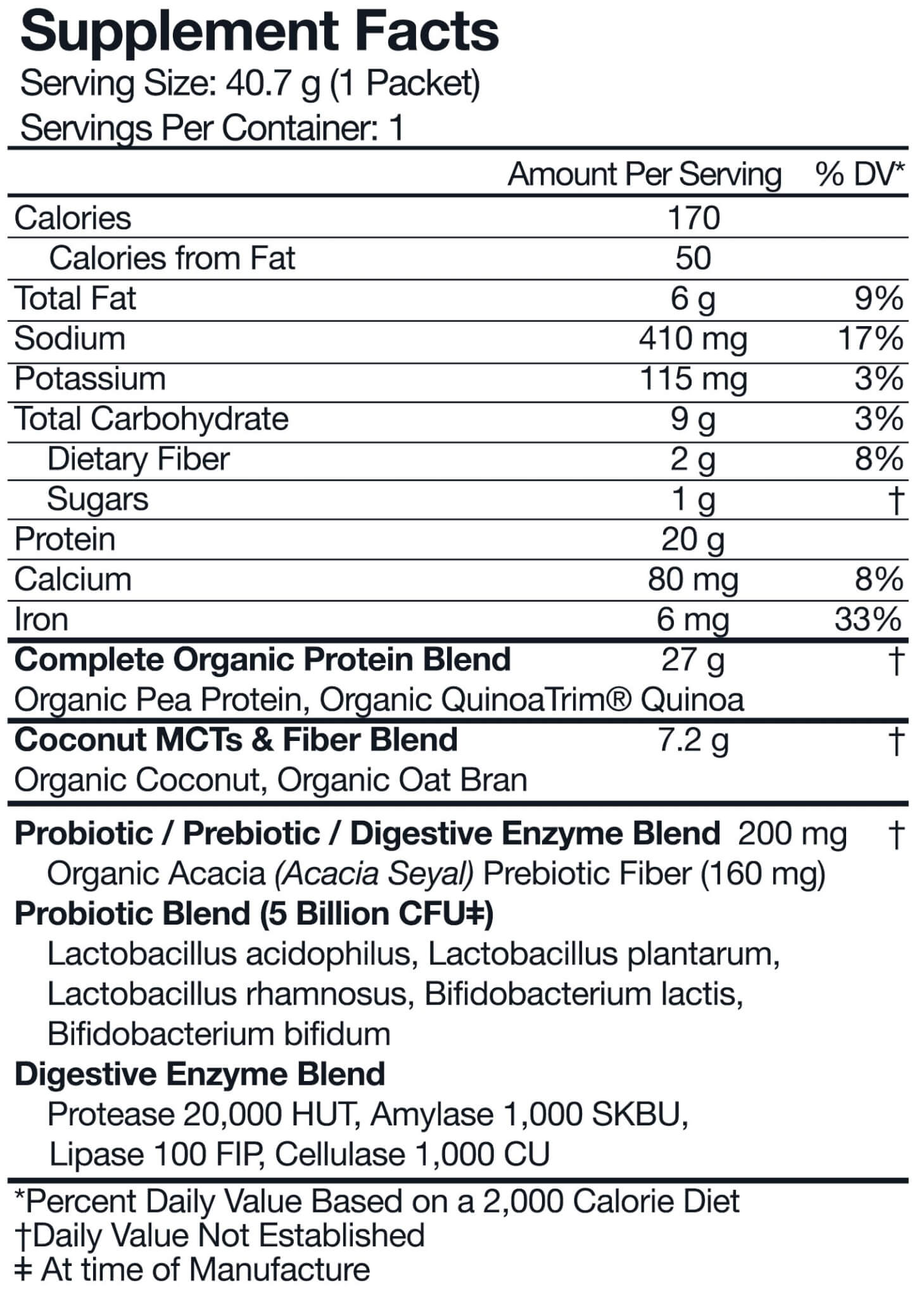 Orgain Protein™ & Superfoods Plant Based Protein nutrition label