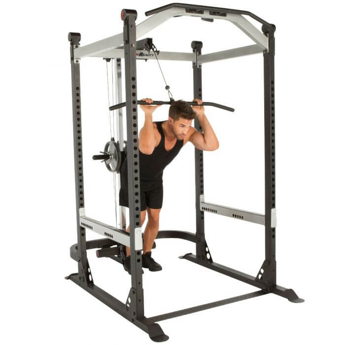 x class our top commercial power rack with lat pull down