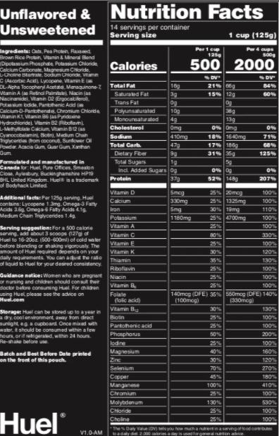 Huel Nutritional Values