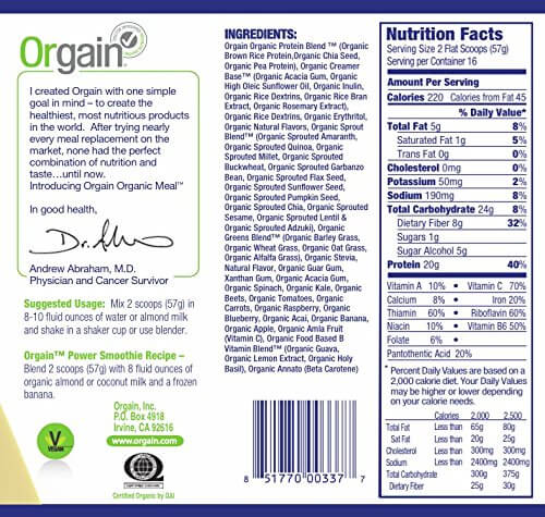 orgain nutritional values are better than vega one