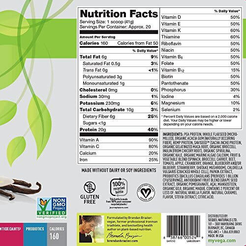 vega one nutritional values are not as good as orgain