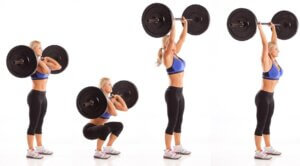 barbell thrusters to build endurance