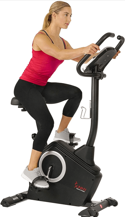 The SF-B2883 upright exercise bike from  Sunny Health & Fitness has an impressive dual display system showing a wide range of workout metrics