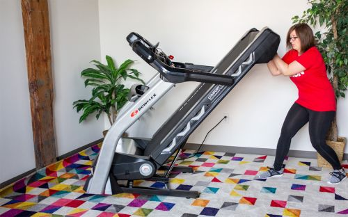 top rated treadmill for zwift showing the folding system
