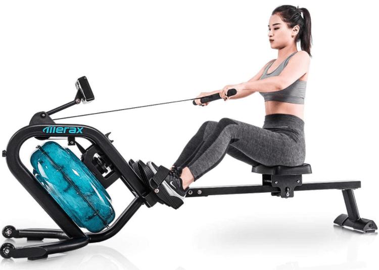 The Merax Water Rowing Machine uses water resistance