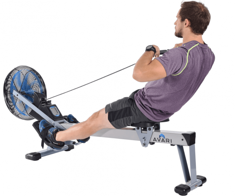 The Avari 695 rowing machine uses air resistance