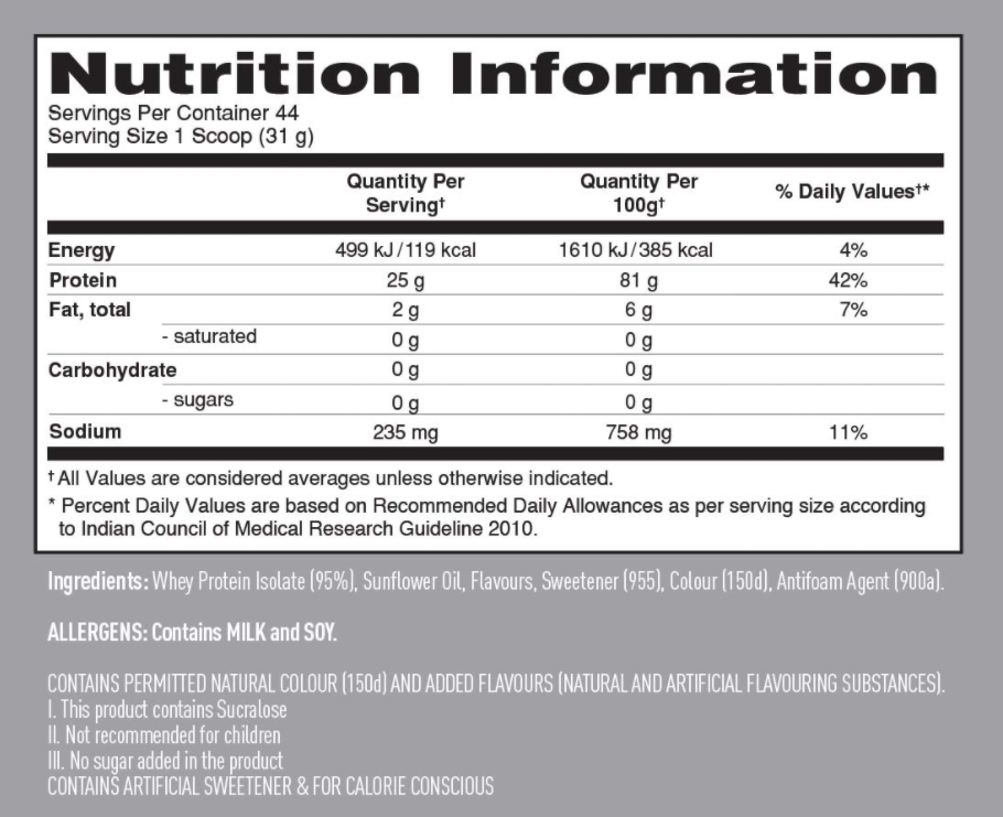 Isopure Ingredients label