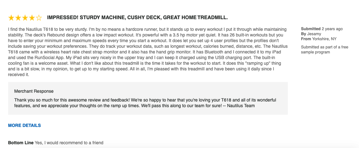 customer reviews of the t618 treadmill from nautilus