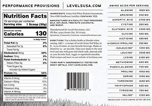 levels grass fed whey protein ingredients label
