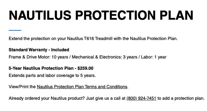 nautilus t616 treadmill warranty