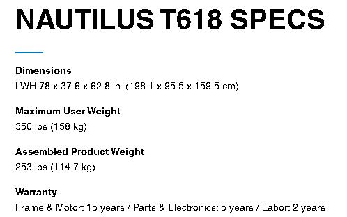nautilus t618 treadmill specs and warranty