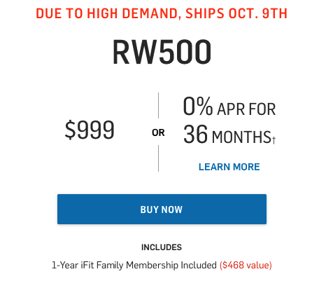 price of the rw500 rower