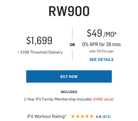 price of the rw900 rower