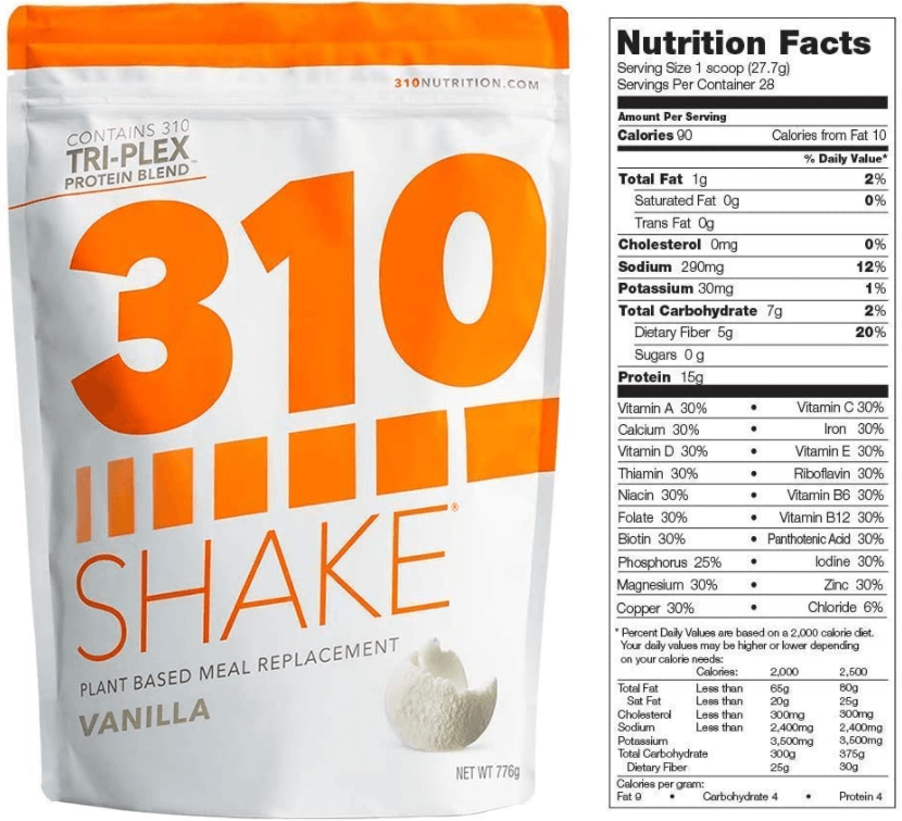 310 Nutrition nutrition label