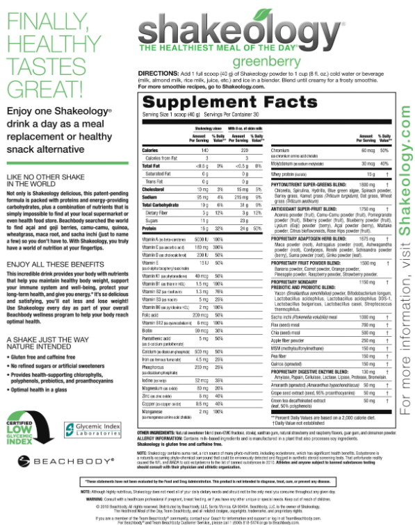 Shakeology Nutrition Label