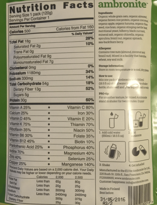 Ambronite nutrition label