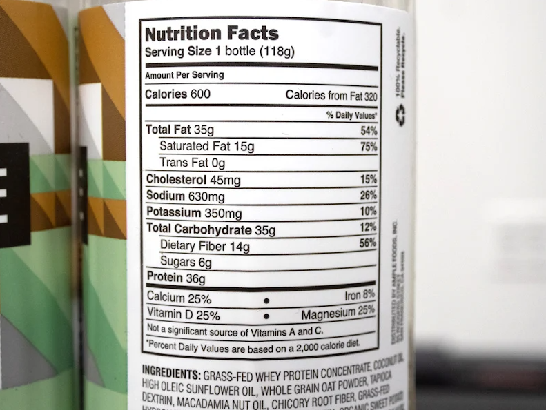 Ample Meal Replacement nutrition label