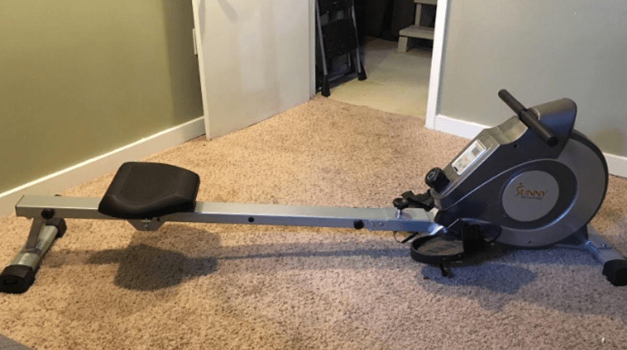 The cheapest rowing machine that will give you a full-body workout from home is the Sunny Health Magnetic Rowing Machine