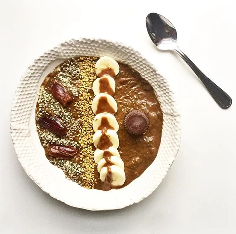 recipe for Chocolate Smoothie Bowl topped with Dates and Nut Butter with Ka'Chava