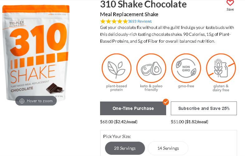 310 Nutrition pricing