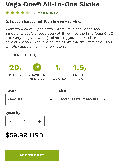 Vega Meal Replacement pricing