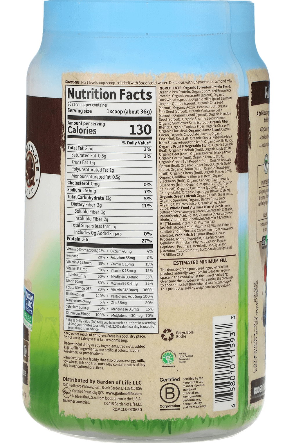 Garden of Life Meal nutrition label