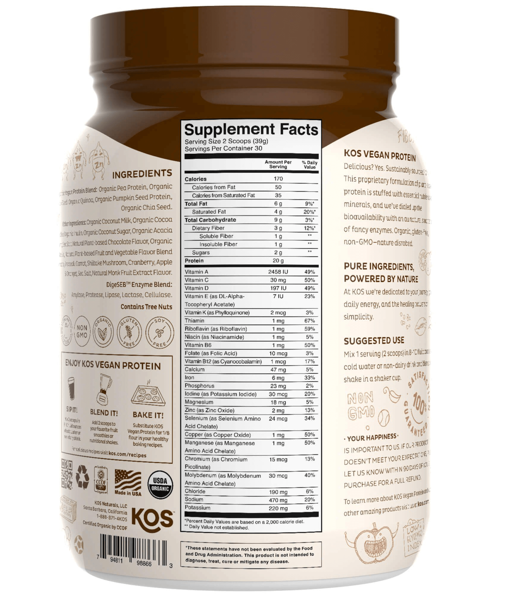 Kos Meal's nutrition label