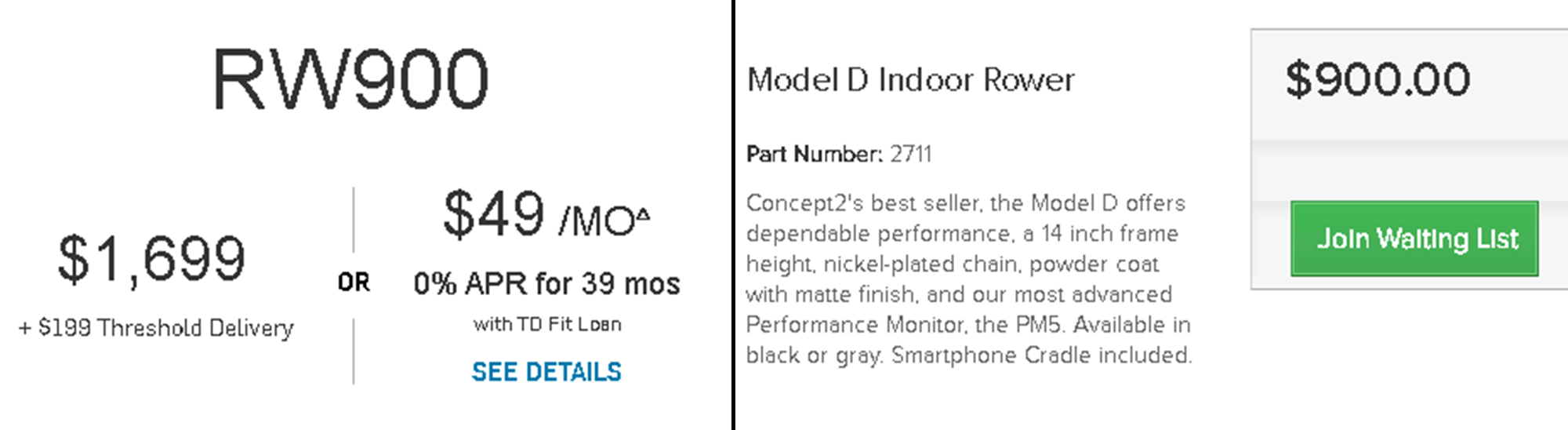 Comparing the prices of the NordicTrack RW900 the Concept 2 Model D
