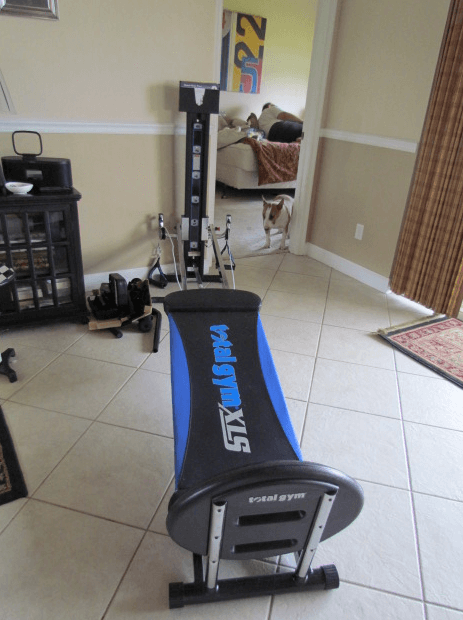 the Total Gym XLS is the most compact home gym that you can get that will work your entire body