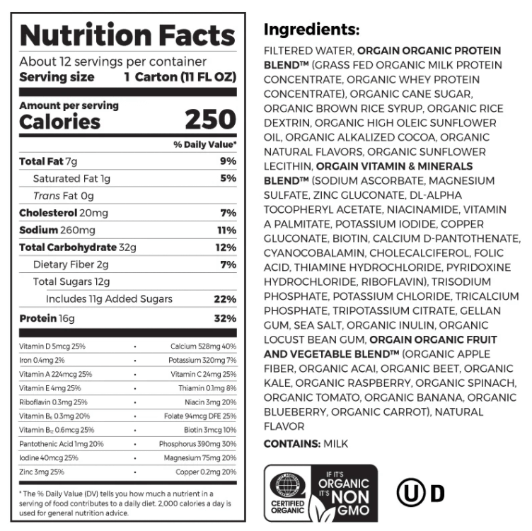 Orgain Meal Replacement nutrition label