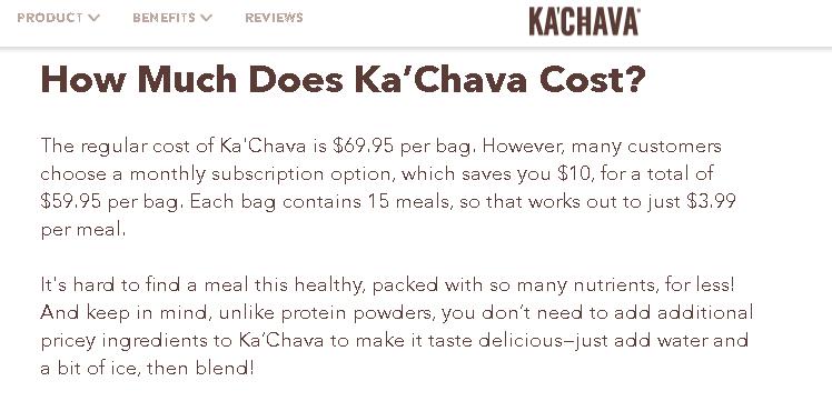 Ka'Chava pricing