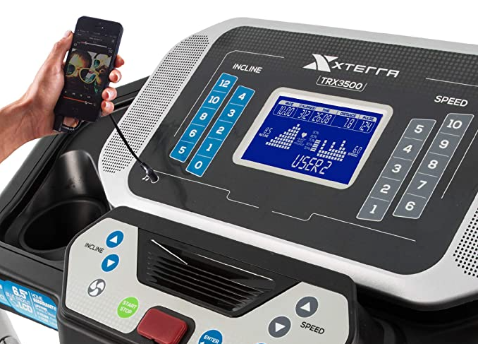 The TRX3500 Folding Treadmill's dashboard speakers can be connected to your phone and you can listen to your favorite music while running.