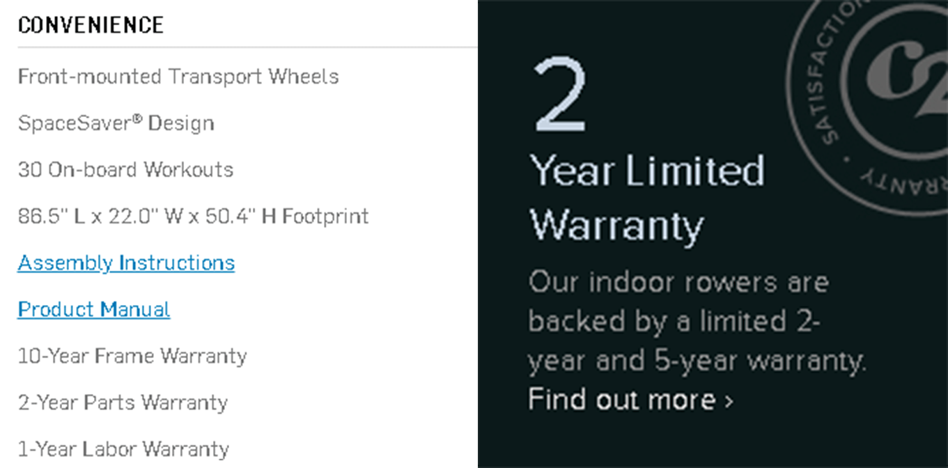 Comparing the warranty on the NordicTrack RW900 the Concept 2 Model D