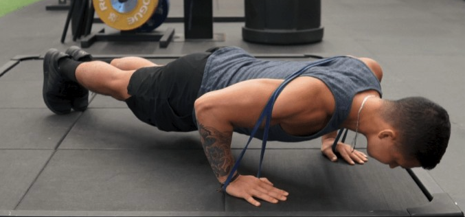 weighted pushups with bands instead of dumbbell floor presses