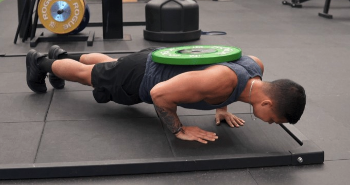 weighted pushups with weights rather than dumbbell floor presses