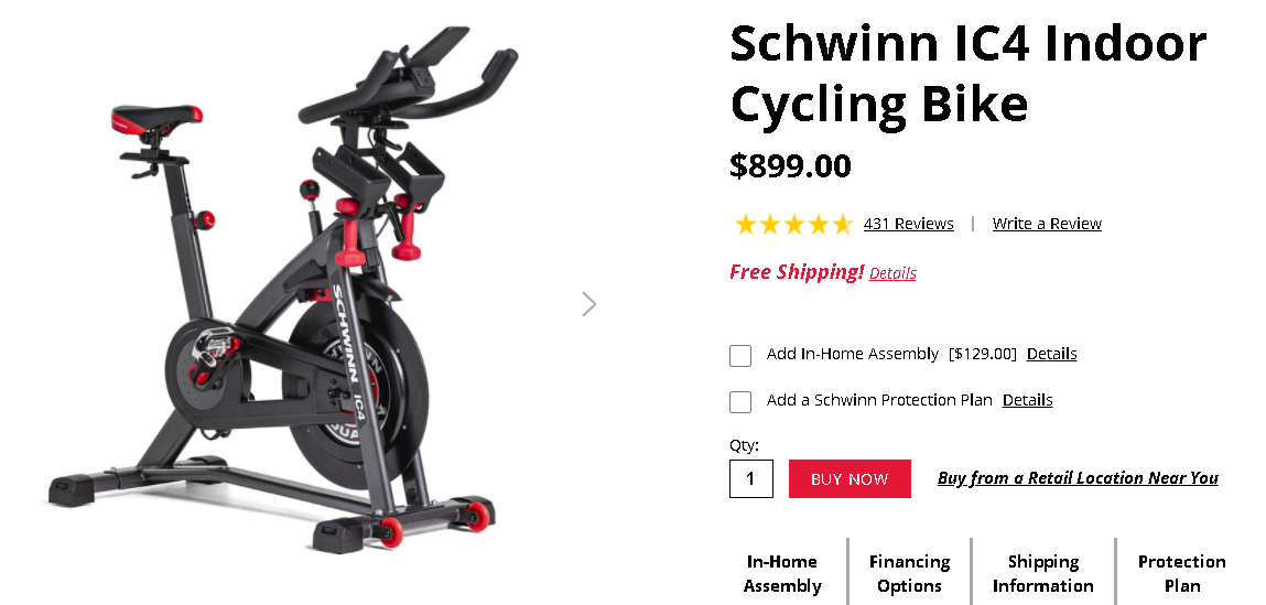 Cost of buying the Schwinn IC4