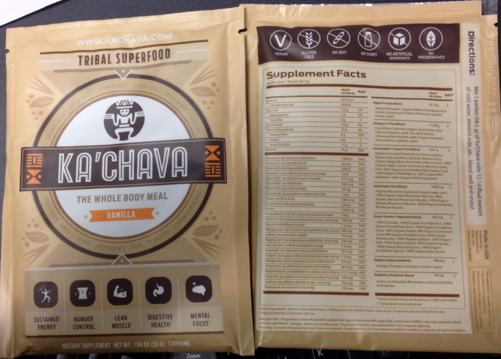 Kachava Nutrition Facts