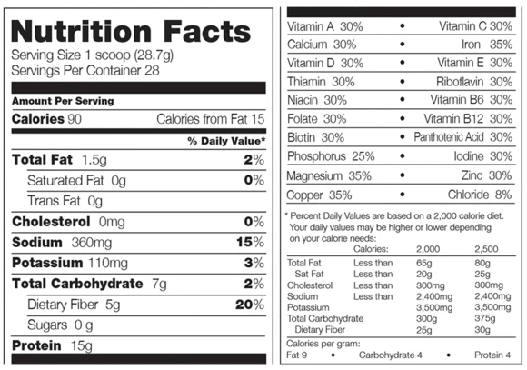 310 Nutrition Nutrition Facts