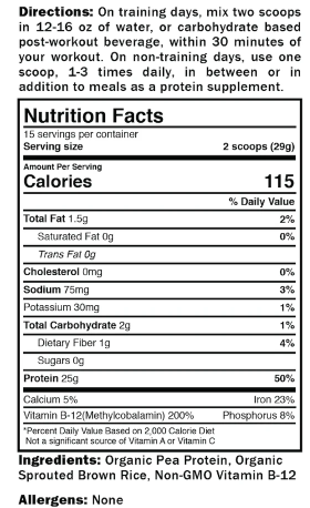 Promix, Unflavoured Vegan Protein Powder Nutrition Facts