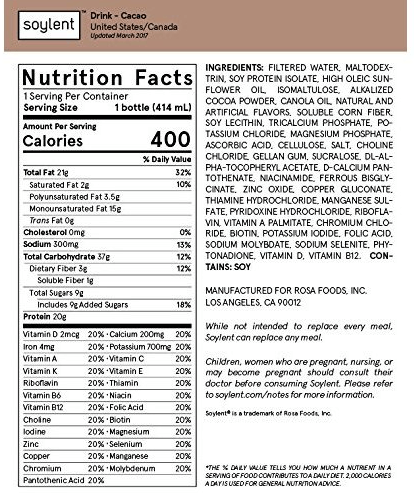 Soylent nutrition label