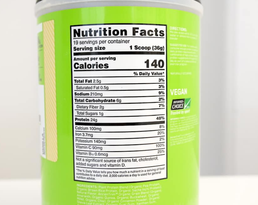 Optimum Nutrition Plant Based Protein Powder Nutrition Facts