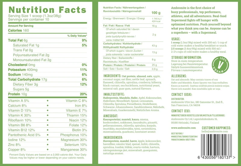 Ambronite Nutrition Facts